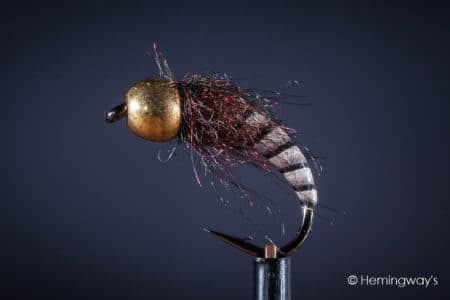 Tungsten Peacock Quill Caddis Nymph - Brown