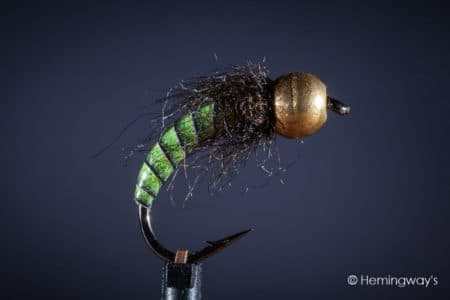 Tungsten Peacock Quill Caddis Nymph - Green
