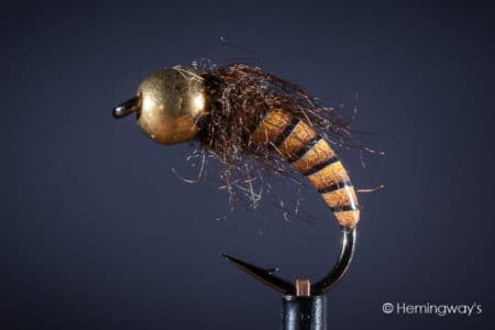 Tungsten Peacock Quill Caddis Nymph - Orange