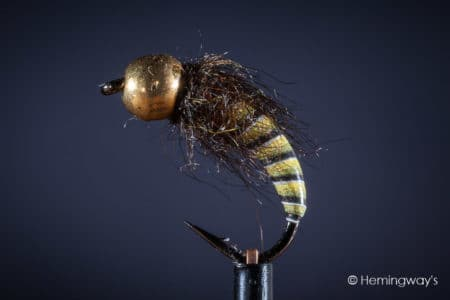 Tungsten Peacock Quill Caddis Nymph - Yellow Olive