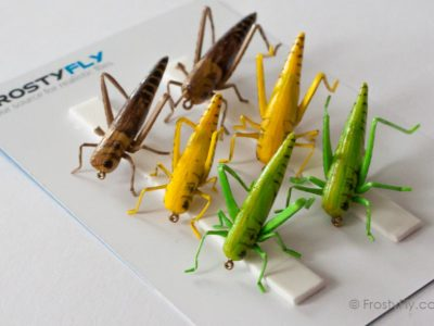 Realistic Flies - Hopper - Set of 6 Flies - Green, Yellow and Brown