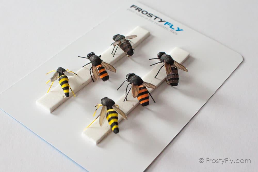 realistic flies wasp honey bee set of 6 flies frostyfly