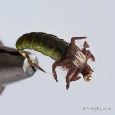 Realistic Caddis Larvae with Silicone Legs - Light Green
