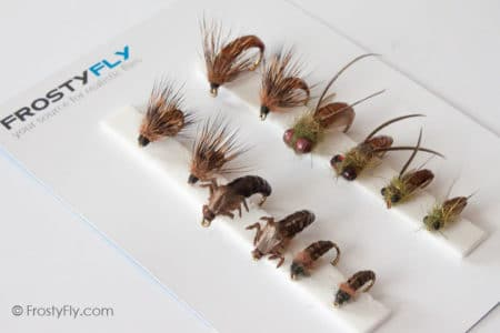 Realistic Flies - Caddis Larvae Pupa Emerger - Set of 12 Flies - Brown