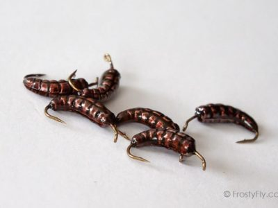 Weighted Caddis Larva Bodies with Hooks - Brown