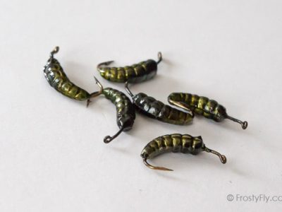 Weighted Caddis Larva Bodies with Hooks - Green