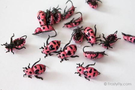 Realistic Pink Ladybug Flies