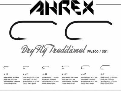 Ahrex FW500 Dry Fly Traditional Hooks - Small Barb - Specs