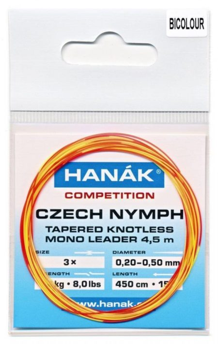 Hanak Tapered Knotless Mono Czech Nymph Leader 15ft 4.5 m - Bicolor