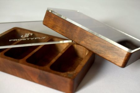Skeena River Solid Walnut Wooden Streamer Fly Box with Clear Lid